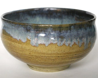 Woodgrain patterned bowl with icy blue details.