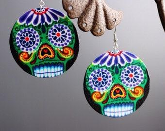 Sugar Skull (Dia de Los Muertos) Green Earrings