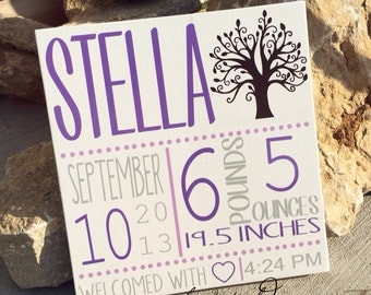 Custom Birth Announcement Board with Tree- Subway Art- Personalized Wall Hanging