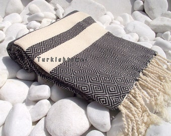 Turkishtowel-2014 Spring Collection-Hand woven,20/2 cotton warp and weft,Diamond Turkish Bath,Beach Towel-Black,natural cream