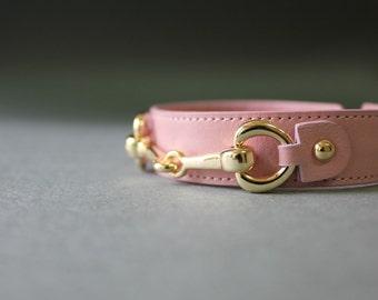 Classic Saddle Ornament Leather Bracelet(Light Pink)