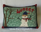 "Winter Snowman Pillow - 15"" x 20"" Original Applique Design"