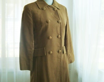 Camel Military Style Double Breasted Coat, Size Small