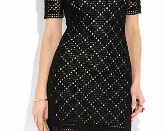 Crocheted Diamonds Little Black Dress - Made to Order