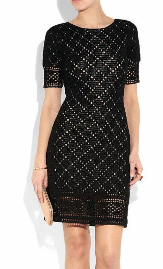 Items similar to Crocheted Diamonds Little Black Dress ...