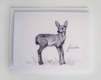 Blank A2 Note Card - Fawn Sketch