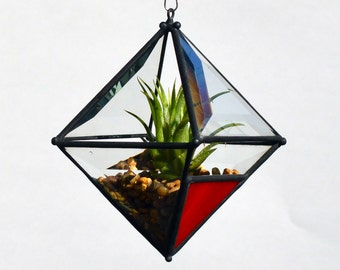 Pyramid Beveled Glass Orb Air Plant Planter with Red Accent.