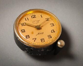 Vintage small mechanical alarm clock MIR