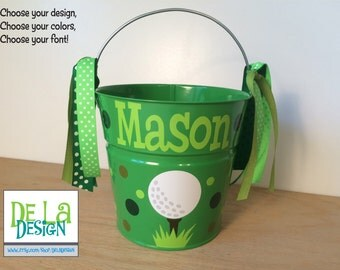 Golf Match your costume - Personalized halloween trick or treat metal bucket, 2 quart toddler size pail, other sports available, birthday