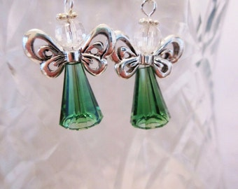 Swarovski Crystal Angel Earrings, Handmade, SRAJD