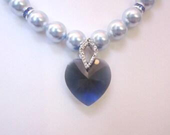 Swarovski Pearl and Crystal Necklace - Light Blue Swarovski Pearls and 18mm Dark Blue Heart - Weddings, Brides, Bridesmaids, Proms, SRAJD