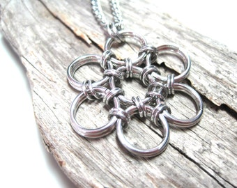 Silver Chainmaille Flower Necklace - Japanese 12 in 2