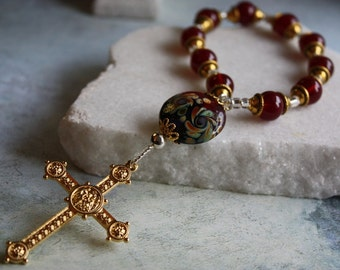 Single Decade Rosary Chaplet in Stunning Red Agate With Papal Cross