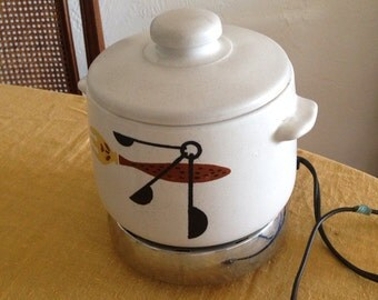 Vintage West Bend 60's Ceramic Bean Pot with Lid and Very Mod Fish Graphic // on sale | FL