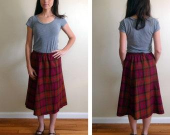 Vintage 1970's Plaid Wool Warm Toned Pleated Skirt