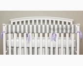 Teething Crib Rail Cover Protector - Gray Stripe - Lavender Ties - Karis -T1