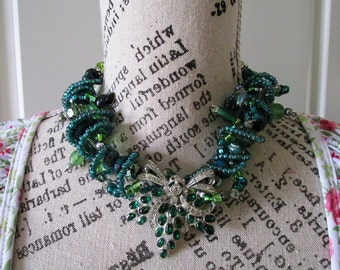 Statement Necklace Emerald Green and Silver wire wrapped Chunky Necklace, Boho, Large with Silver and earrings