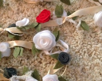 Felt Rosette and Ribbon Garland