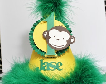 Monkey Party Hat - Personalized - Number One - Boy