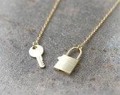 Key and Lock Necklace in gold
