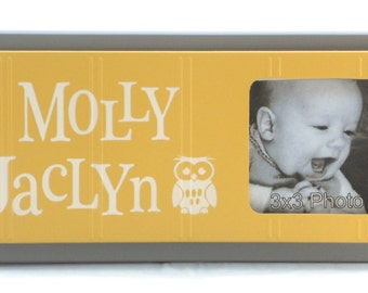 Owl Nursery Decor Art Yellow / Gray Personalized Baby Nursery Picture Frames, Decor Photo Frame Custom Order Gifts
