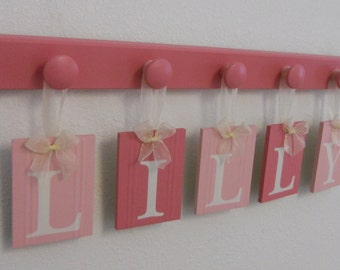 Wooden Letters for Girls Room Pink Baby Name Wall Letters Personalized Name with Hanging Pegs