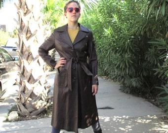70s Vintage Dark Brown Designer High End Leather Coat medium MINT