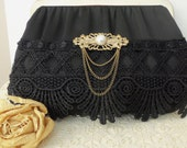 Vintage Evening Bag - Black Satin - Vintage Brooch with Pearl Accent - Antique Black Venice Lace - Collectible - Gift Idea - OOAK