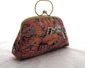 Village Blossom Japanese Kimono Clutch / Bag / Purse