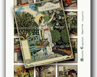 Art Nouveau French Garden Calendar Pages Antique Decoupage Seasons Months 2 x 2.5 inches Digital Collage Sheet Instant Download 094