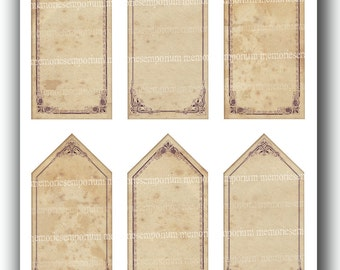 Antique Gift Tag Digital Collage Sheet DIY Tags Old Shabby Chic Gift Cards Gift Label Images Sepia Browns for Swing Tags Labels 597