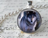 Grey Wolf Necklace - Wolf Charm - Free Chain or Keyring (521)