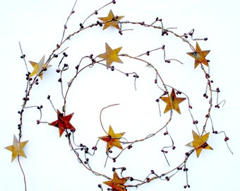 Rusty Tin Star Garland with Burgundy Pip Berries