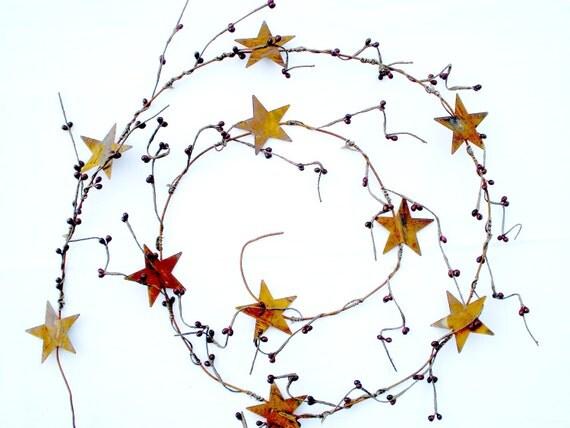 Rusty Tin Star Garland with Burgundy Pip Berries