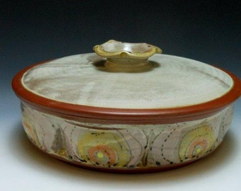 Orange and Pink Lidded Casserole for Serving and Baking (1.5 quarts)