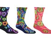 Tie Dye Fleece Socks Custom Made, Hearts, Swirls, Pink, Peace Signs, multi-colors, Warm anti pill Fleece Socks