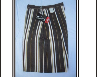 Vintage Ladies Shorts New Old Stock Brown And Gold Striped