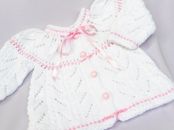 Hand knitted baby sweater, Christening /Baptism vest, girl fashion , READY TO SHIP