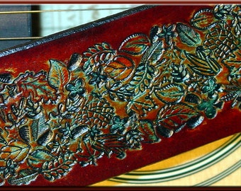 FOREST LEAVES Version 2 Design • A Beautifully Hand Tooled, Hand Crafted Leather Guitar Strap