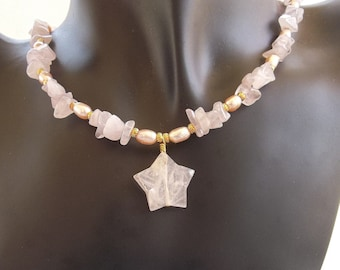 Pink Star Pendant with Rose Quartz and Pink Pearls Necklace