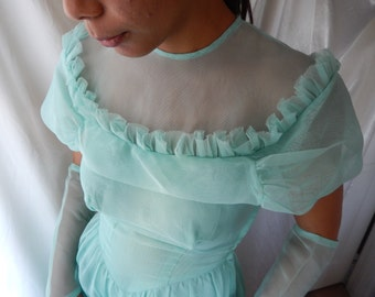 Vintage Bridesmaid Dress - Light Aqua Blue Gown - Bridesmaid Gown - Vintage Blue Gown - 1940s Gown