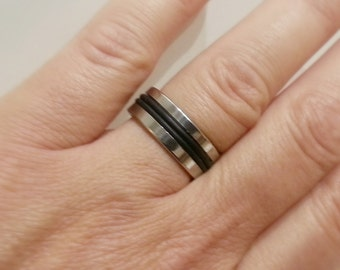 Unisex Stainless Steel and Black Rubber Ring - ACRING01