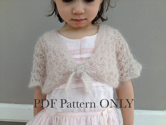 Free Knitting Pattern For Girls Bolero : Girl Shrug Knitting Pattern PDF Toddler Cardigan Spring