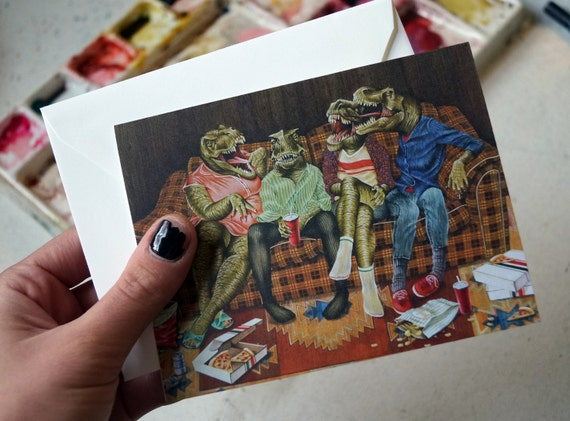 DINOSAUR MEAN GIRLS Prosauropodsitter's Club Greeting Card For Best Friends