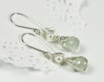 Sterling Silver Wire Wrapped White Swarovski Pearl and Pale Green Amethyst Prasiolite Earrings, Kristin Noel Designs