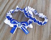 Duke Inspired Royal Blue & White Bridal Satin Wedding Keepsake Or Garter SET