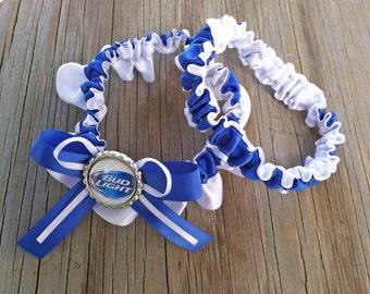 Bud Light White & Royal Blue Bridal Satin Wedding Garter Keepsake Or SET Beer Something Blue