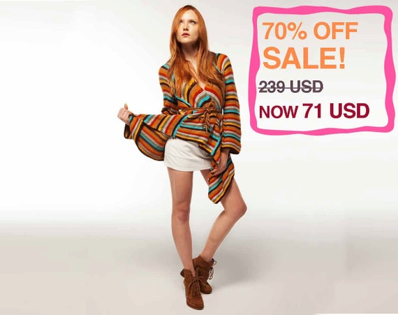 70% OFF! Multi Color Top / Tunic: Redemption. Handmade, Winter Collection