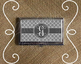 Custom Personalized Business Card Case Business Card Holder Quatrefoil Gray or ANY Color(s)