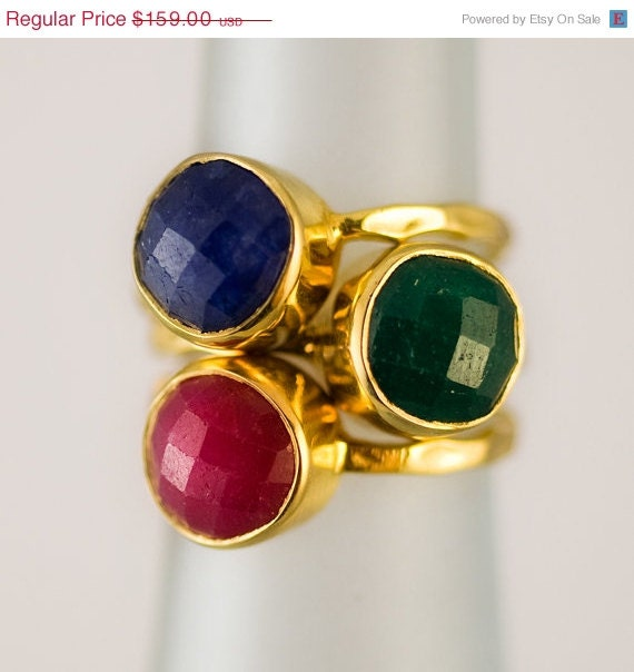 gemstone ring stackable rings gold rings emerald by delezhen